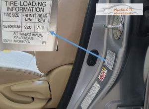 thông số áp suất lốp xe